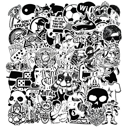 zheyistep 150 Pcs Black and White Car Sticker for Laptop Motorcycle Luggage Vinyl Graffiti Bomb Decal Bumper Skateboards Snowboard Awesome Travel Stickers Pack
