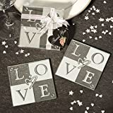 64 SETS of 2 Love Glass Coasters Wedding Favors