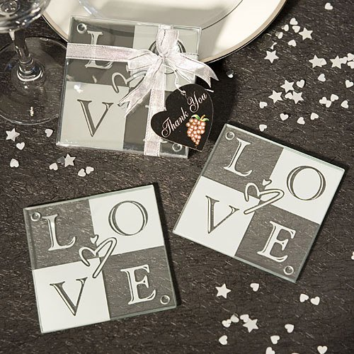 64 SETS of 2 Love Glass Coasters Wedding Favors by Fashioncraft