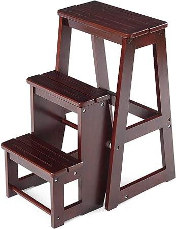 Rziioo Taburete de Madera Plegable de 3 Niveles Escalera Silla Banco de Asiento Utilidad Multifuncional: Amazon.es: Hogar