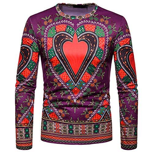 Toimothcn Men's Dashiki Tops African Ethnic Print Shirt Long Sleeve O-Neck Sweatshirt Pullover Top Blouse(Purple1,XL)]()