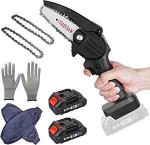 Mini Chainsaw Cordless, 4-Inch Electric Portable Tree Saw with Brush less Motor, One-Hand Lightweight, Pruning Shears Chainsaw for Tree Branch Wood Cutting ((2pcs Batteries +2pcs chians, Black))