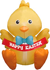 iBccly 3.93FT Easter Inflatable Chick LED Lights Lighted Outdoor Indoor Holiday Decorations Blow up Yard Lawn Inflatables Home Family Outside Easter Holiday Art Decor