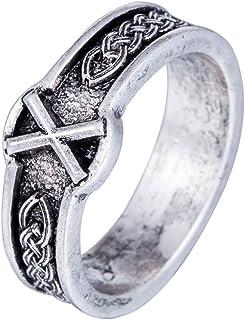 Skyrim Antico Retro Punk Stile Vichingo Nero amuleto Norse Rune Anello per Uomo e Donna (Taglia 8) YI WU KE JI