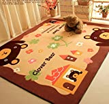 Super Soft Living Room/Bedroom Carpets Non-slip Thicker Mats Cartoon Bear Area Rugs By Cutepuppy(28''x56'') (brown)