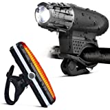 Force24 - Bicycle Light Set Waterproof Mountain Bicycle Headlight and Taillight Sets Super Bright Front Light and Rear…