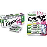 Energizer Rechargeable AA Batteries & Rechargeable AA Batteries, 700 mAh NiMH, Pre-Charged, Chargeable for 1,000 Cycles…
