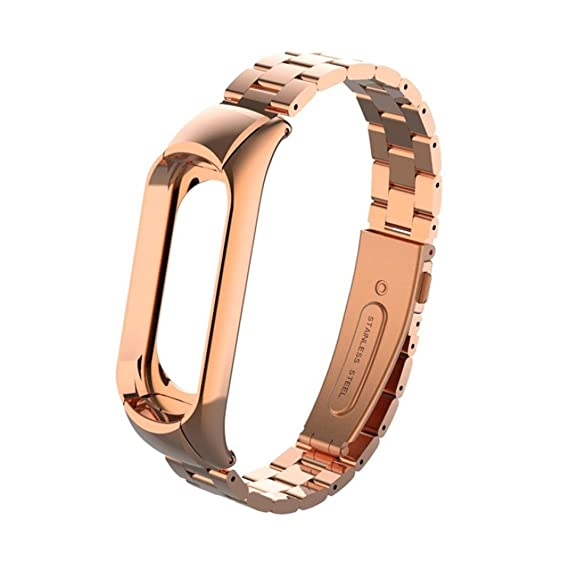 Correa de Reloj Inteligente para Xiaomi MI Band 3, Sencillo Vida, Pulsera Ligera de Acero Inoxidable de Moda, Metal Wristband