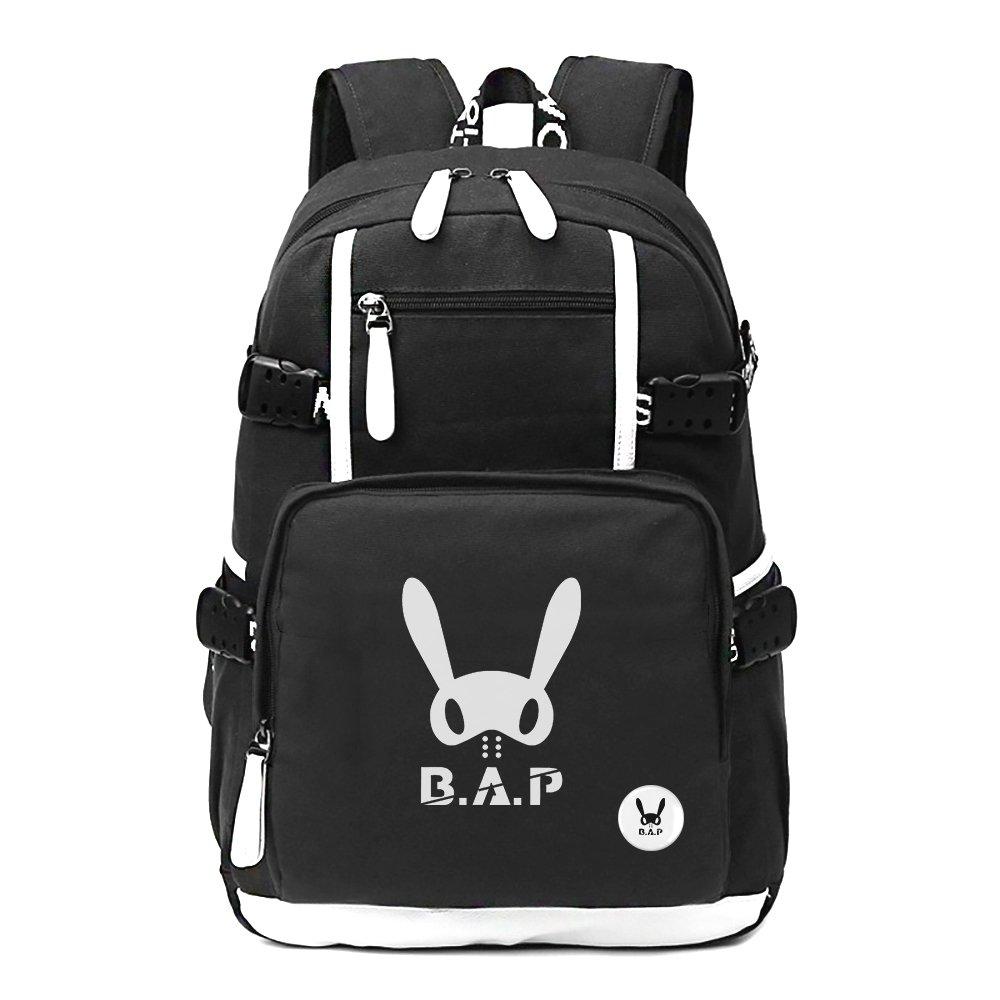 Fanstown Kpop Hiphop Backpack pin Botton Set Canvas Messenger Bag with lomo Cards