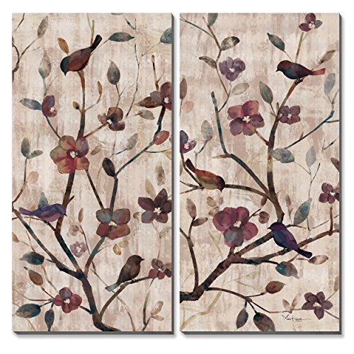 - 3Hdeko - Burgundy Flower Wall Art Birds on Red Floral Tree Painting Large Canvas Prints Decorative Picture for Living Room Bedroom Office, Stretched 20x40inchx2pcs