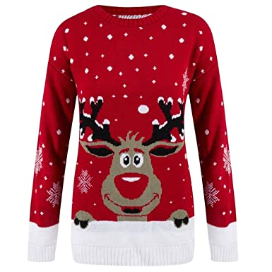 f990a246dac4 Ladies Christmas Novelty Printed Reindeer Snowflakes Rudolph Long ...