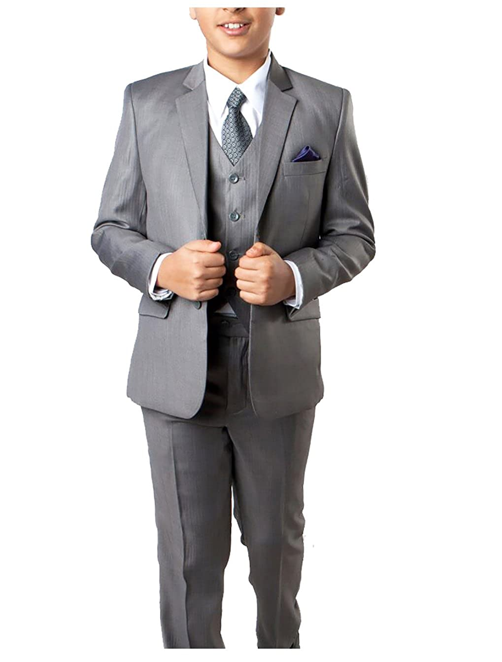 Tonal Stripe Boys Suit With Vest TAZIO Lite Grey 5 Pc Dress Shirt and Tie