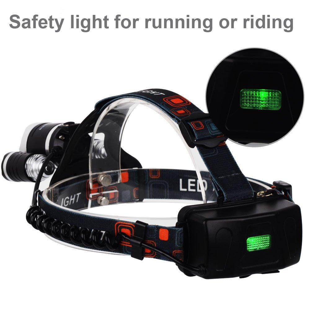 Led Headlamp 6000 Lumens Max 4 Modes Waterproof Head Exciting Scout Crafts 1 Or 2 Flashlight Light With Rechargeable Batteries Usb Cable Wall Charger And Car