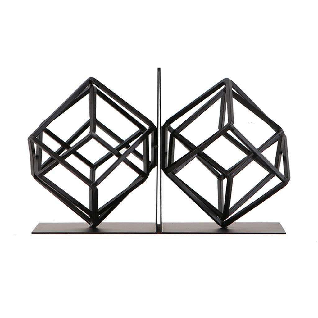 Xilin-shop Bookends Nonskid Unique Geometric Design Bookends Decorative Metal Book Ends Supports 1 Pair (Black) Art Bookend by Xilin-shop