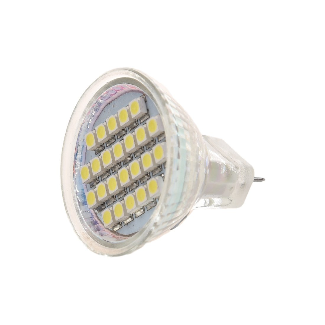 TOOGOO(R)1.5W AC12V MR11 GU4 72-96LM LED Bulb 24 LED 3528 1210 SMD White Lamp