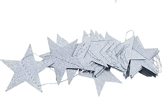 Misscrafts Star Paper Garland Bunting Banner 4Pack 16m Long Hanging Decoration for Wedding Holiday Party Birthday Gold