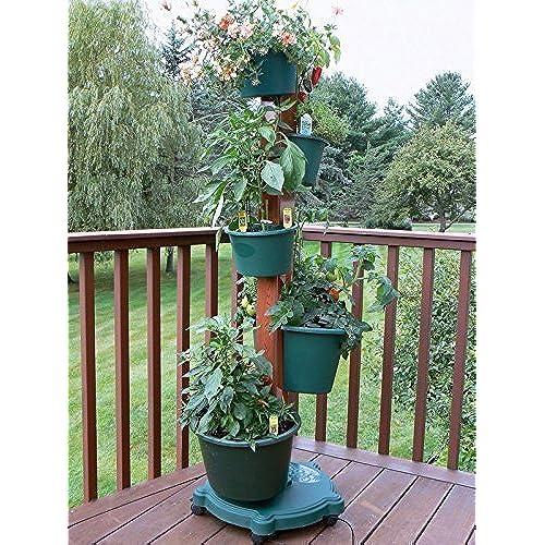 My Garden Post 5 Planter Vertical Gardening System With Drip Irrigation  System Finish, Hunter Green