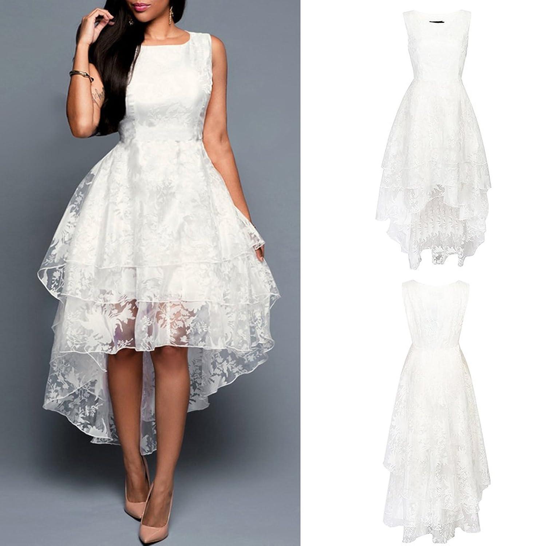 iShine Damen Abendkleider Knielang Ärmellos Cocktail Kleider Weiß Für Hochzeit  Cocktail Party: Amazon.de: Bekleidung