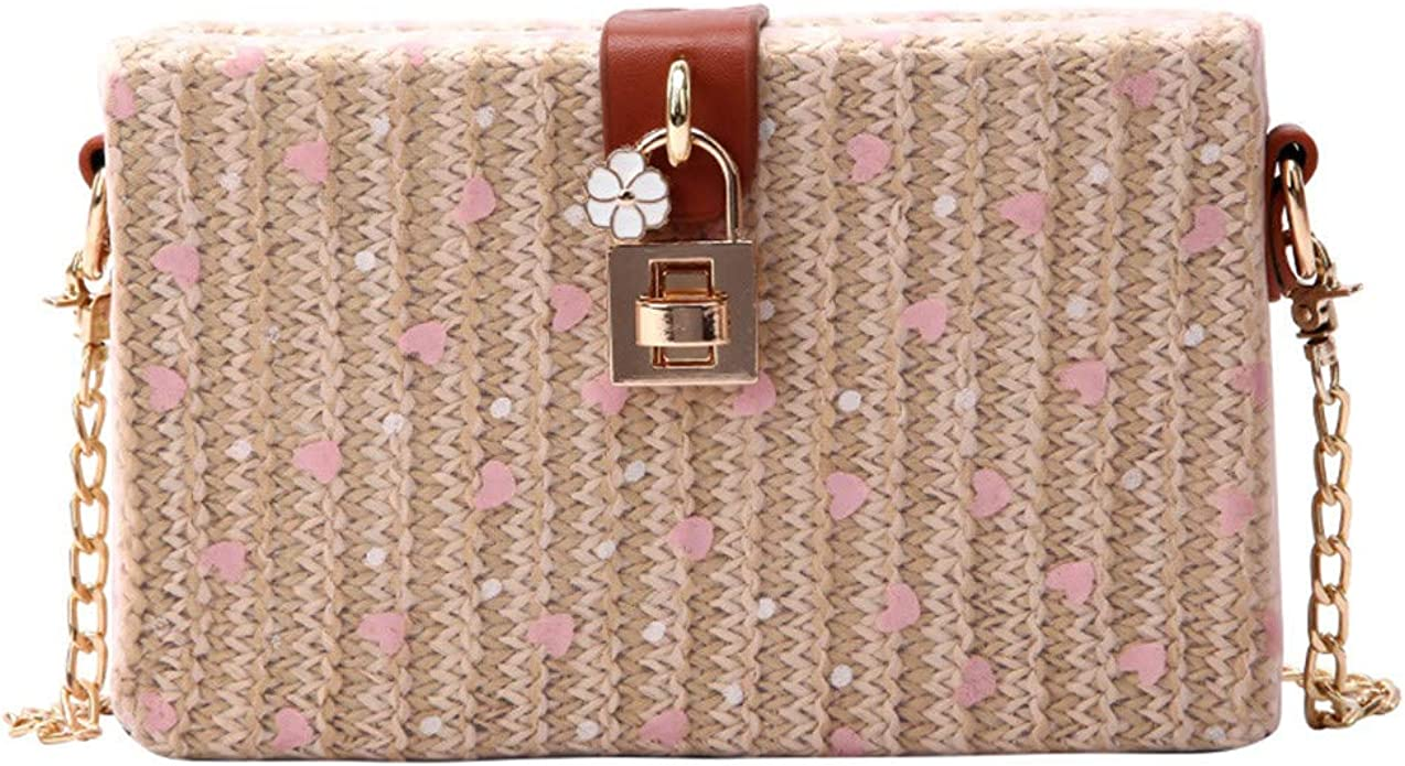 Heart shaped Sequins Straw Burlap Square Beach Messenger packages