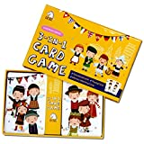 Children's Card Game Set - Memory Matching Game, Educational Game, Playing Cards 3 in 1 Card Game Set (European Series)