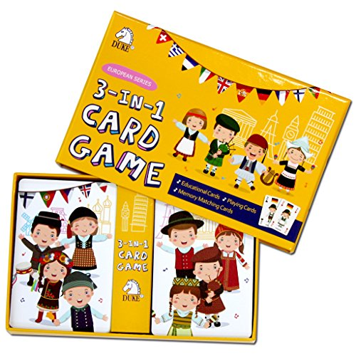 Children's Card Game Set - Memory Matching Game, Educational Game, Playing Cards 3 in 1 Card Game Set (European Series) by Duke Games