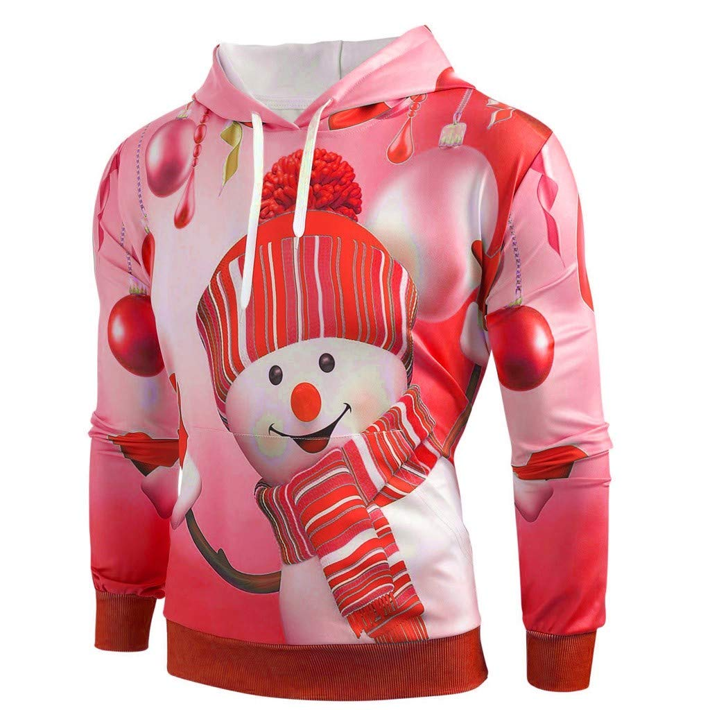 LATINDAY Unisex Cute Christmas Hoodie Sweatshirts Casual Printed Kangroo Pocket Pullover Red by LATINDAY ➜ Women's Clothing