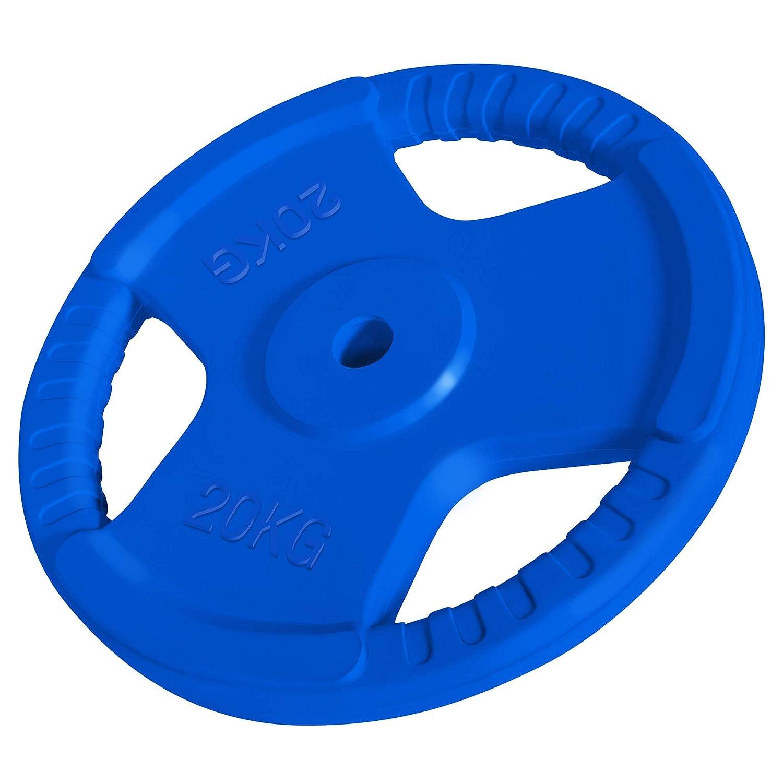 GORILLA SPORTS® Hantelscheiben-Set Einzeln Gummi Gripper - 1,25-25 kg Gewichte mit 30 31 mm Bohrung