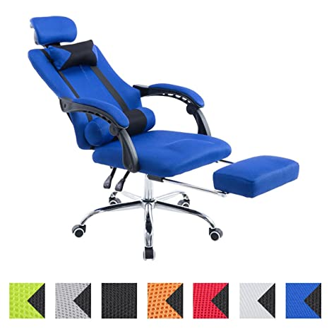 CLP Silla Racing Fellow Tapizada en Red I Silla Gaming con Soporte Metal Cromado & con Ruedas I Silla Gamer Regulable en Altura I Color: Azul