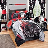 un 1pc Boys Star Wars Theme Comforter Twin/Full, Kids Starwars Movie Graphic Bedding, Vibrant, Color Animated Character Darth Vader Yoda Chewbacca Storm Trooper Themed Pattern Red Black