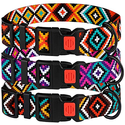 CollarDirect Aztec Dog Collar Adjustable Nylon Tribal Pattern Geometric Pet Collars for Dogs Small Medium Large Puppy (Tribal Magenta, Neck Fit 14