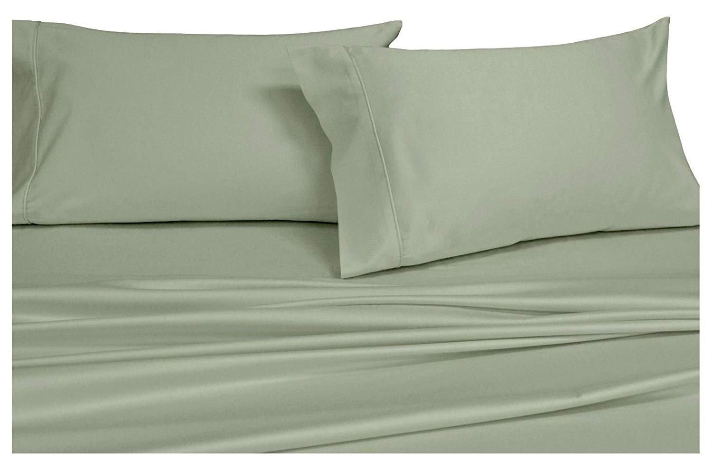Split-King: Adjustable King Bed Sheets 5PC Solid Sage 100% Cotton 600-Thread-Count, Deep Pocket