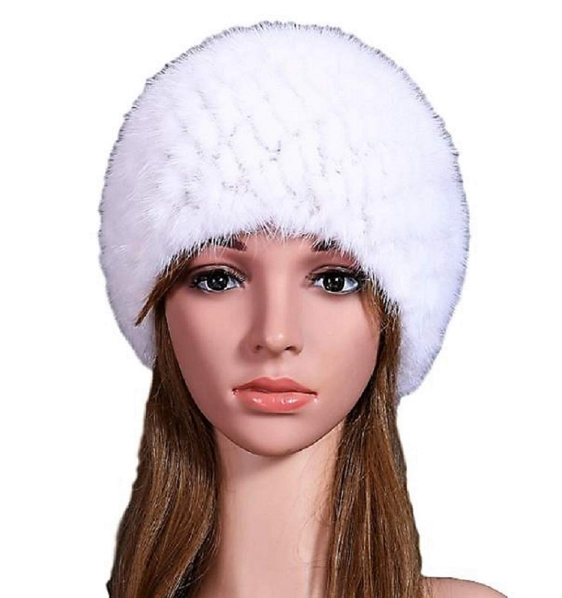 Women Winter Hat Mink Real Fur Warm Cap (White)
