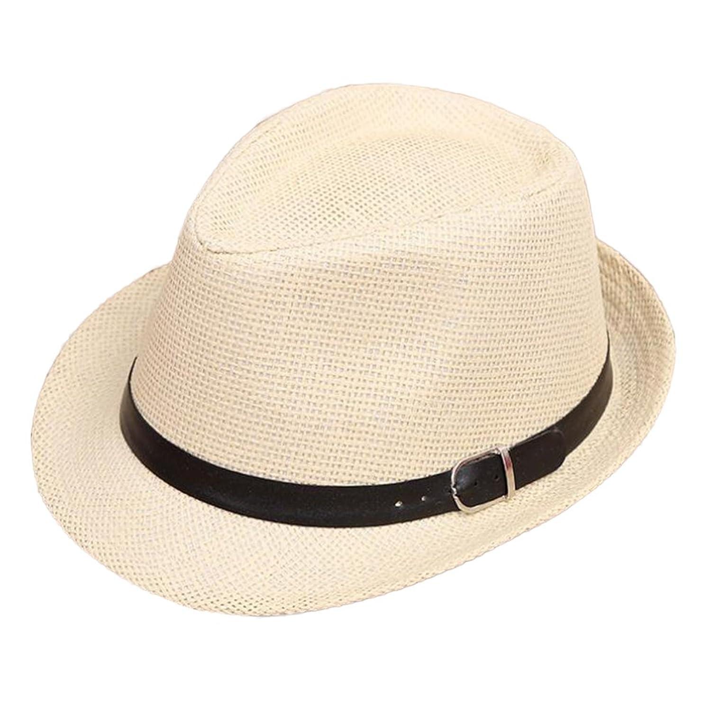 932ccf65f9d 4URNEED 2 Piece Unisex Parent-Child Straw Hat Fedora Sun Hat Jazz Hat  Panama-