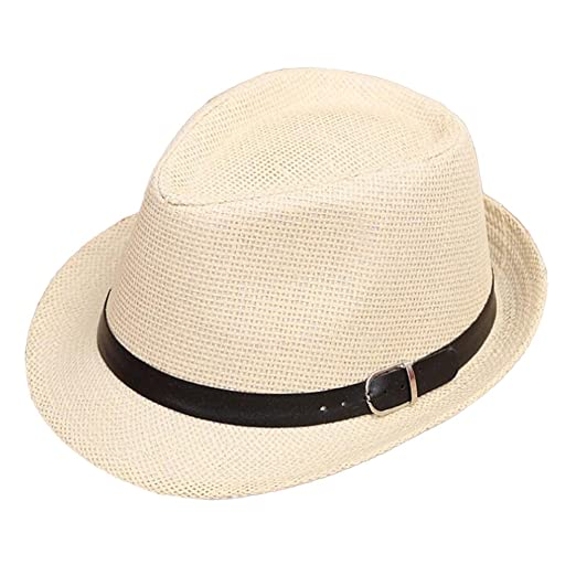ace7bb7b6d0 Caro Zoe Unisex Parent-Child Straw Hat Fedora Sun Hat Jazz Hat Panama-Hats S