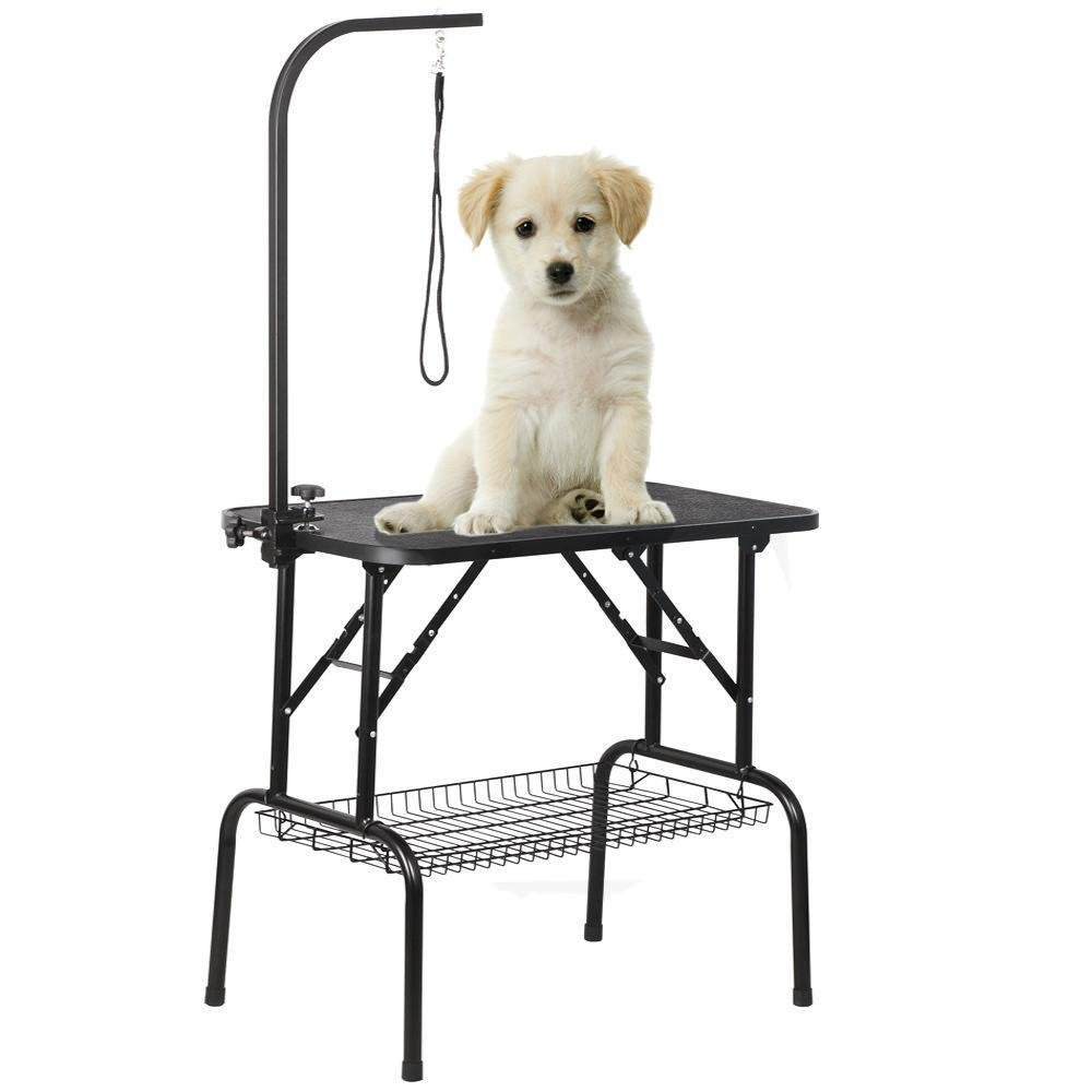Yaheetech Pet Dog Grooming Table Adjustable Height - 32'' Drying Table w/Arm/Noose/Mesh Tray for Small Dogs Cats Portable Non-Slip Maximum Capacity Up to 220lbs Black by Yaheetech (Image #6)