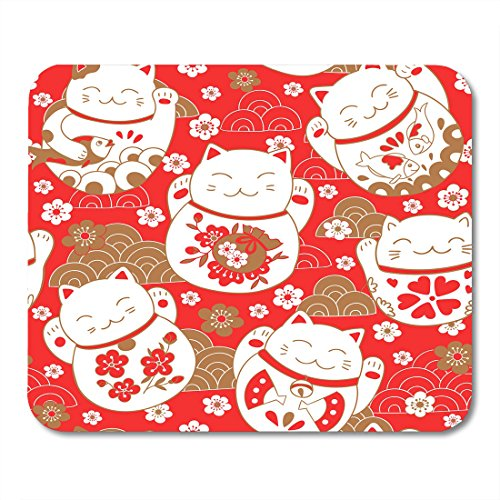 Nakamela Mouse Pads Asian Red Chinese Cute Pattern with Cats Lucky Charms Maneki Neko in Oriental Style White Japanese Mouse mats 9.5