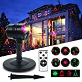 Christmas Projector THZY auto Patterns Landscape Garden Light,Garden Christmas Light Projector, Starry Projector Light Spotlight Party Decoration with Moving Red and Green Stars 65.5ft-Range RF Remote for Indoor Outdoor Christmas Party Garden Decoration