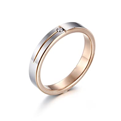 Heyrock 4mm Rose Gold Romantic Lover Crystal Tungsten Couples Band Ring 3vMTuFn3G