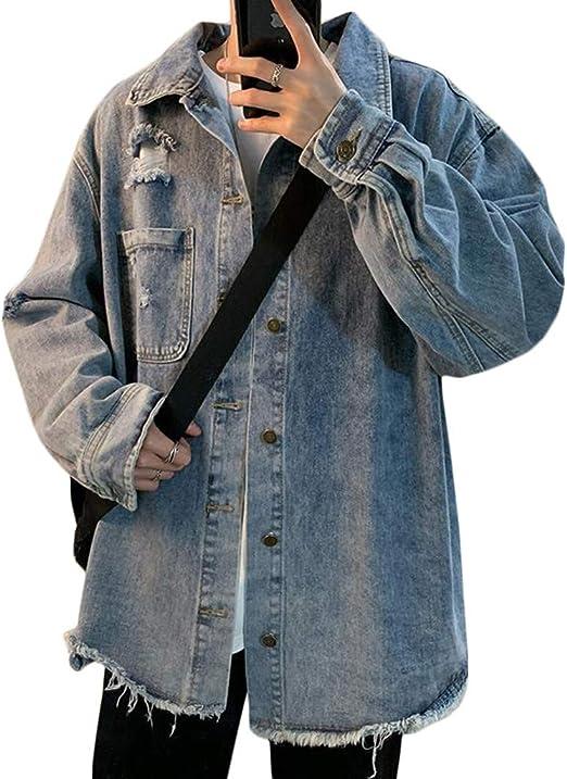[YYQ-SHOP]デニムジャケット メンズ ダメージ加工 ジージャン 長袖 ゆったり Gジャン ヴィンテージ ストリート系 ジャケット ファッション 春 アウター