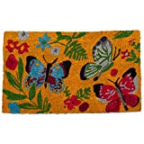 tag - Sunshine Butterfly Coir Mat, Decorative All-Season Mat for the Front Porch, Patio or Entryway, Multi