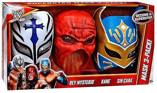WWE Wrestling Costumes Rey Mysterio, Kane & Sin Cara Mask 3-Pack Roleplay Toy by WWE