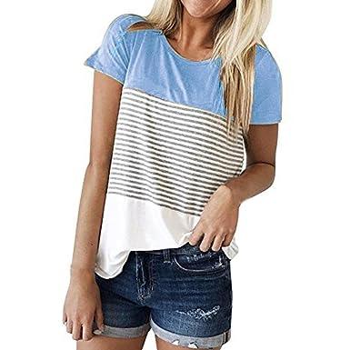 6b9b12e00256 K-youth® Blusas para Mujer, Camisa de Manga Corta para Mujer Rayas Casual  Camiseta Mujer Ropa de Mujer EN Oferta Suelto Tops Blusas de Mujer  Elegantes ...