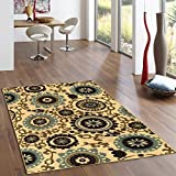 Kapaqua Rubber Backed 3-Piece Rug SET Floral Swirl Medallion Beige Multicolor Non-Slip Area Rug - Rana Collection Kitchen Dining Living Hallway Bathroom Pet Entry Rugs RAN2036-3PC