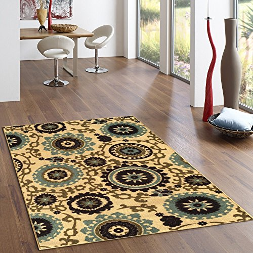 Kapaqua Rubber Backed 3-Piece Rug SET Floral Swirl Medallion Beige Multicolor Non-Slip Area Rug - Rana Collection Kitchen Dining Living Hallway Bathroom Pet Entry Rugs RAN2036-3PC by Kapaqua