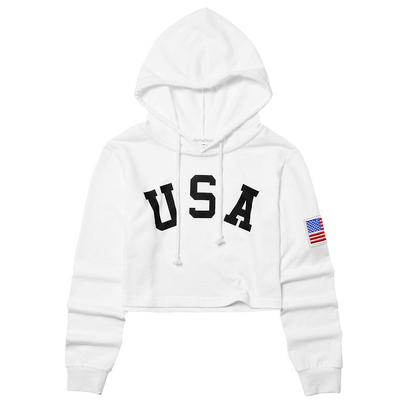 Women's USA Letter Print America Flag White Cropped Shirt Hoodie, Medium
