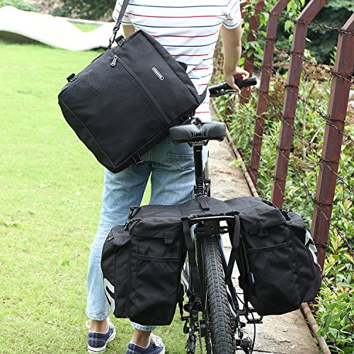 COCO Bike Panniers Waterproof Bag - 3 in 1 Multi Function Messenger Panniers for Bicycles, Bicycle Rear Seat Trunk Bag, Bicycle Saddle Bag for Mountain Cycling (Black) by COCO (Image #6)