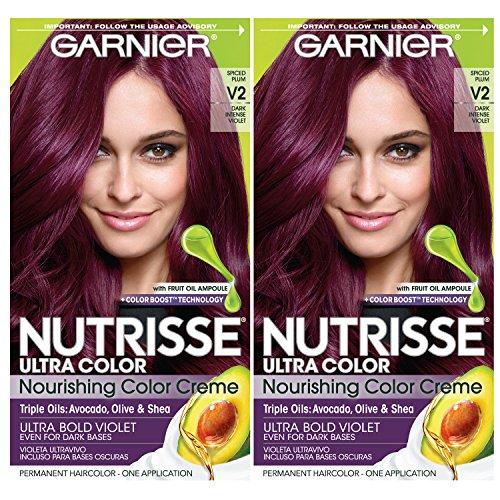 Garnier Nutrisse Ultra Color Nourishing Permanent Hair Color Cream, V2 Dark Intense Violet (2 Count) Purple Hair Dye