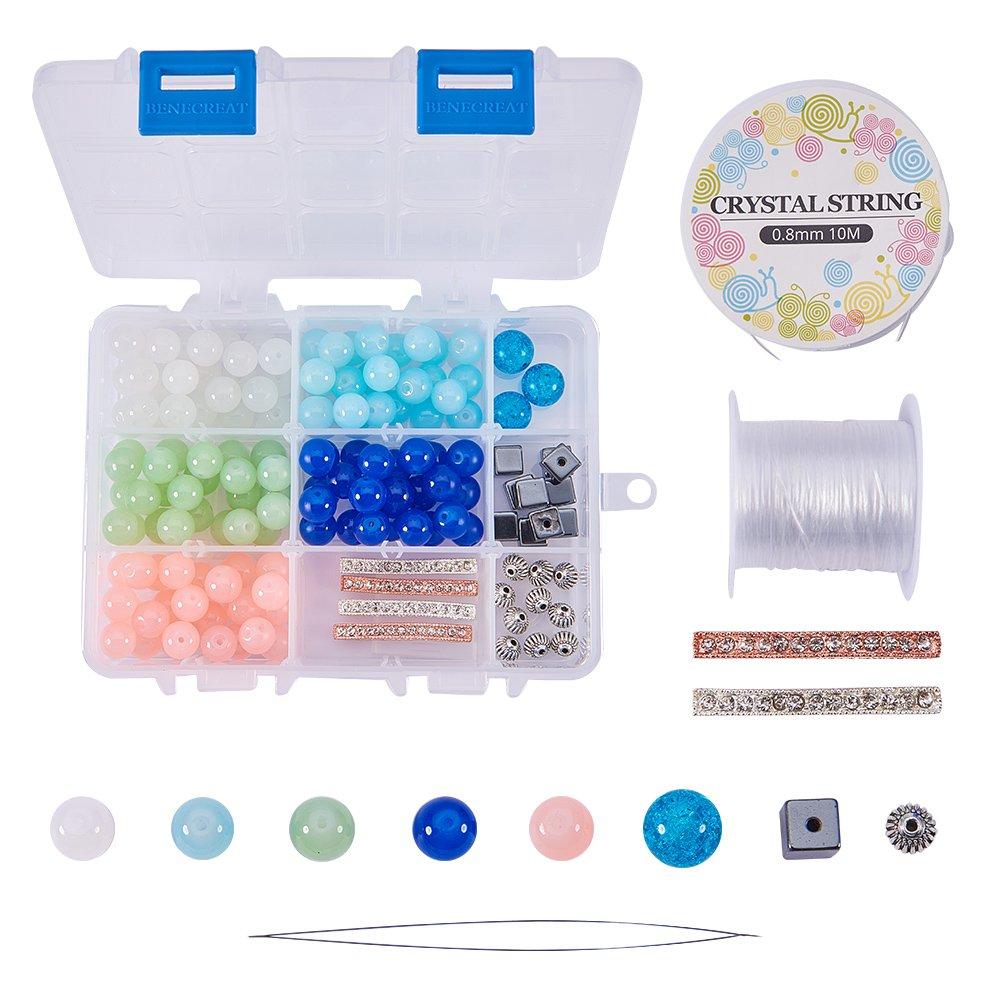SUNNYCLUE 1 Box 156pcs Natural Semiprecious Gemstone Round Beads Stretch Bracelet Set DIY Jewellery Making Craft Kit with Rhinestone Bar Spacers Lantern Beads and Hematite Beads Mixed Color