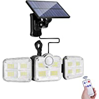 Solar Lights Outdoor, Remote control & 3-Meter cable, Security wall light with 122 LED, Automatic Motion Sensor Flood…