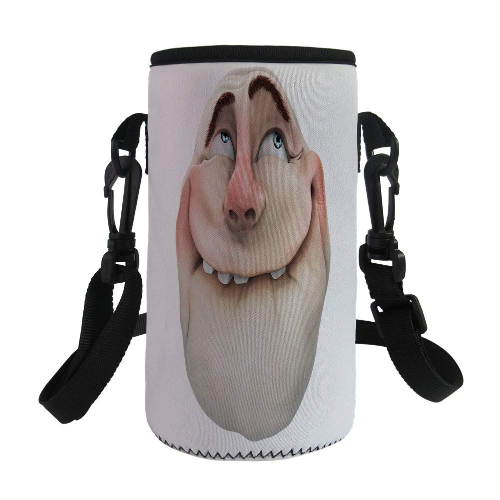 Small Water Bottle Sleeve Neoprene Bottle Cover,Humor Decor,Comics Fun Meme Face Online Social Media Gestures Mocking Head Artsy Picture,Tan Coral,Great for Stainless Steel and Plastic/Glass Bottles,